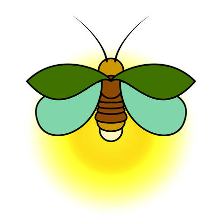 A green firefly with a yellow glow. A simple stylized drawing. Vectores