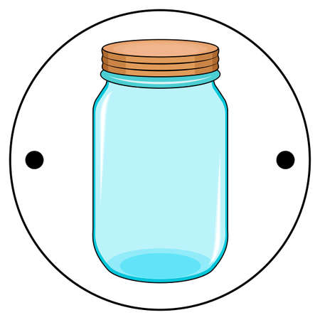 The second side of the Thaumatrope, a blue jar with an orange lid, old animated optical toy of the 19th century, taumatrop, isolated, white background