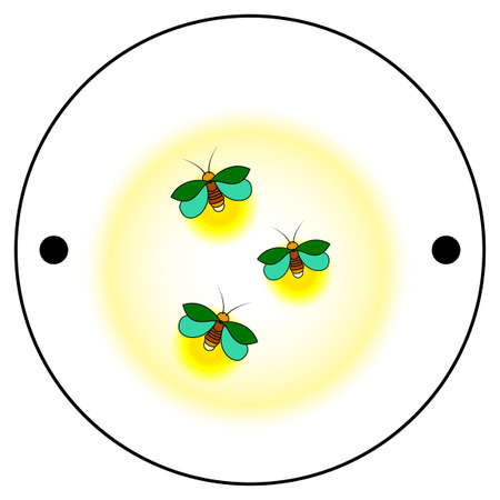 The first side of the Thaumatrope, three green fireflies with a yellow glow, an old animated optical toy of the 19th century, Taumatrop, isolated, white background