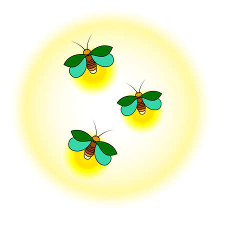 Three green fireflies with a yellow glow. A simple stylized drawing. Isolated. White background Vectores