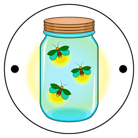 Sides of the Thaumatrope, a blue jar with an orange lid, three green fireflies with a yellow glow, an old animated optical toy of the 19th century, Taumatrop, isolated, white background
