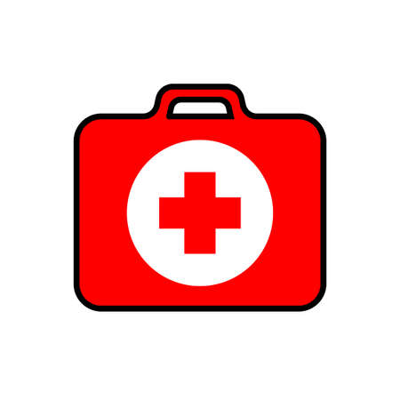 Red first-aid kit with a red cross and white circle, medical set, black stroke, simple vector illustration, isolated, white background Illustration