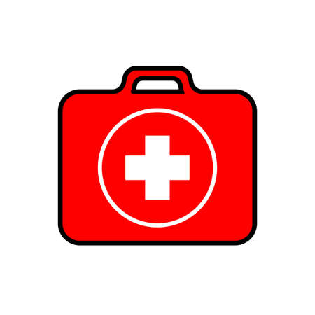 Red first-aid kit with a white cross and white ring, medical set, black stroke, simple vector illustration, isolated, white background