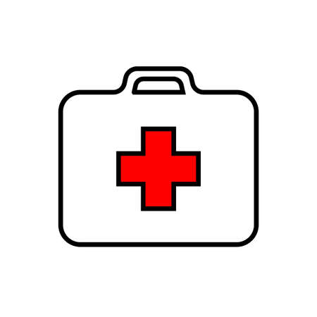 White first-aid kit with red cross, medical set, black stroke, simple vector illustration, isolated, white background Stock Illustratie