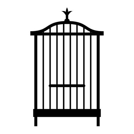 An empty cage for a bird. Black and white silhouette of a cage for a canary, object on white background, isolated, simple, stylized