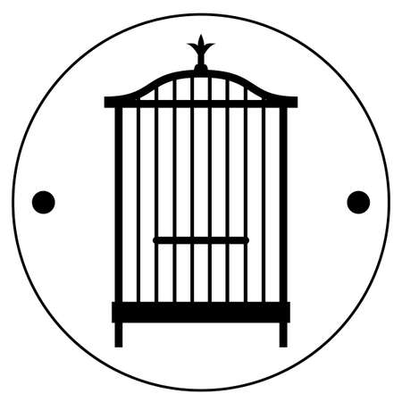 The second side of the Thaumatrop. Cage for bird. Black and white. An old animated toy of the 19th century. Victorian toy, object on white background, isolated, simple, stylized