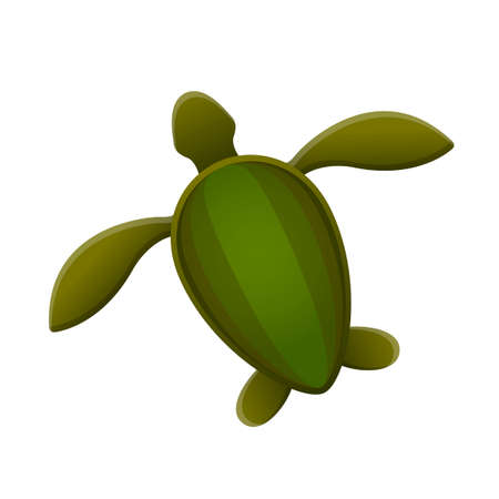 Sea turtle. Simple silhouette drawing. Green-colored shell, light brown yellow fins. White background, isolated object.