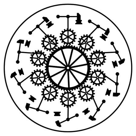 Phenakistiscope animation optical victorian toy, Black and white drawing, Gears, hammers, anvils, Complex mechanism, Phenakistoscope illusion