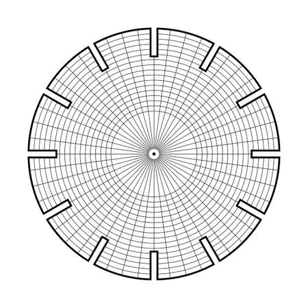 Phenakistiscope animation optical victorian toy template, Black and white drawing, Lines for drawing, template for filling, easy to draw, easy to make, Phenakistoscope illusion Vectores