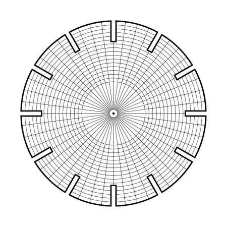 Phenakistiscope animation optical victorian toy template, Black and white drawing, Lines for drawing, template for filling, easy to draw, easy to make, Phenakistoscope illusion Illustration