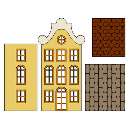 Details of a European house, separate walls, old vintage yellow building, beige roof patterns, brown shingles, gray pavers, windows in the windows and door, orange frames, isolated object, white background, stylized drawing, front view, Europe of the 19th century