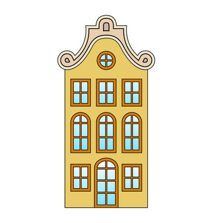 European house, old vintage yellow building, beige roof patterns, blue gradient glass, orange frames, isolated object, white background, stylized drawing, frontal view, Europe of the 19th century