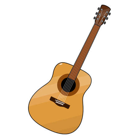 Guitar. Colored, stylized. Yellow case, brown neck, white strings. Classical form, realistic. White background, isolated object