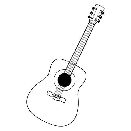 Guitar. Black-and-white, monochrome, linear drawing, stylized. Yellow case, brown neck, white strings. Classical form, realistic. White background, isolated object