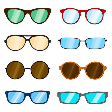 Set of different shapes of glasses