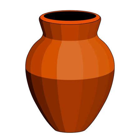 Una olla o jarrón marrón, objeto aislado, fondo blanco, dibujo estilizado simple Ilustración de vector