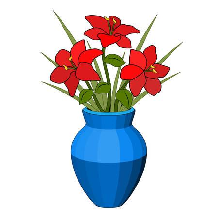 Bouquet dans un vase de fleurs rouges, pot bleu, composition florale, six pétales, tige de feuille d'herbe verte, dessin réaliste, lumière et ombre, fond blanc, objet isolé, dessin stylisé simple
