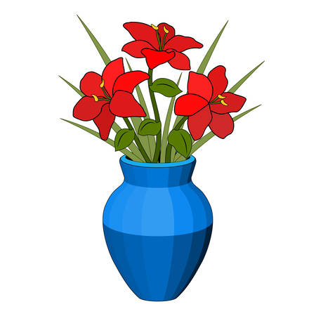 Bouquet in a vase of red flowers, blue pot, flower arrangement, six petals, green grass leaf stem, realistic drawing, light and shadow, white background, isolated object, simple stylized drawing