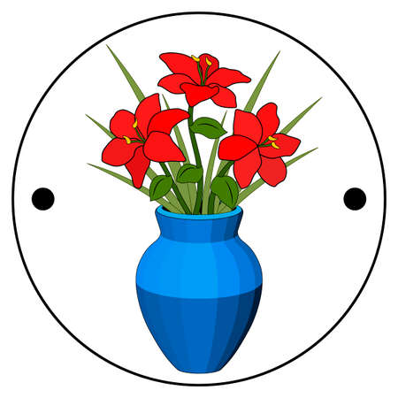 Thaumatrope, old animated optical toy of the 19th century, Taumatrop, Bouquet in a vase of red flowers, blue pot, flower arrangement, six petals, green grass leaf stem, realistic drawing, light and shadow