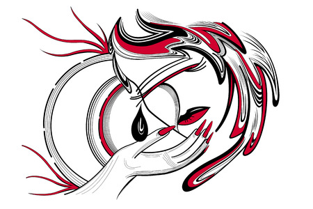 Illustration girl in mask in black and red color with a tear.