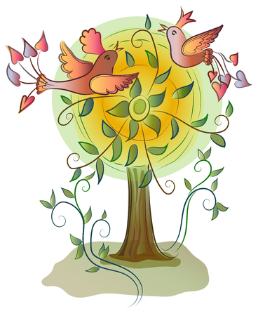 Vector illustration of tree with beatiful colorful happy birds
