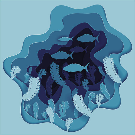 Vector illustration of a school of fish on the seabed in algae