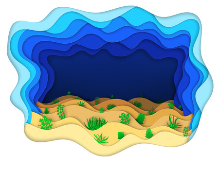 Vector illustration of a seabed with green algae Illustration
