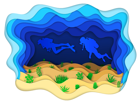 Vector illustration two scuba divers on a sea-bottom