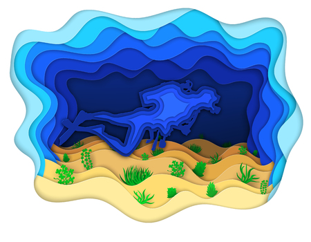 Vector illustration of a scuba diver exploring the seabed