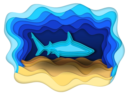 Vector illustration of a formidable shark on the hunt