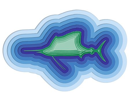 illustration of a layered fish in the sea