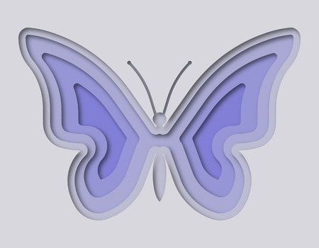 Illustration of a beautiful butterfly cut from paper