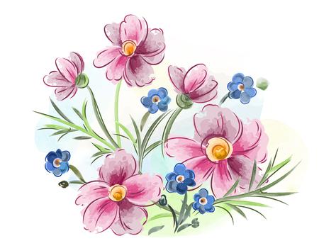 Illustration vectorielle des violettes de fleurs aquarelle et de la pensée et des feuilles sur Prairie