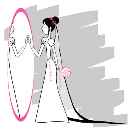 wedding illustration with a bride and a mirror