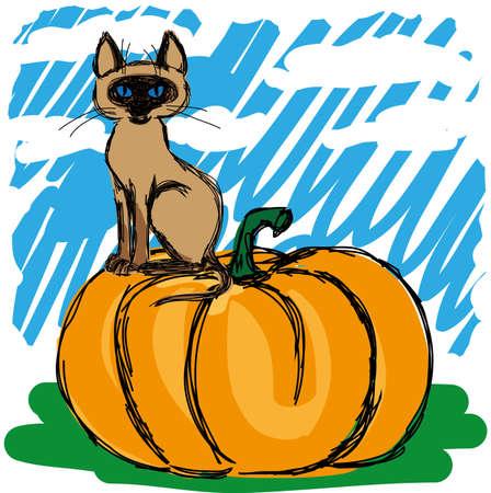 negligent: Negligent sketch of a cat on a pumpkin