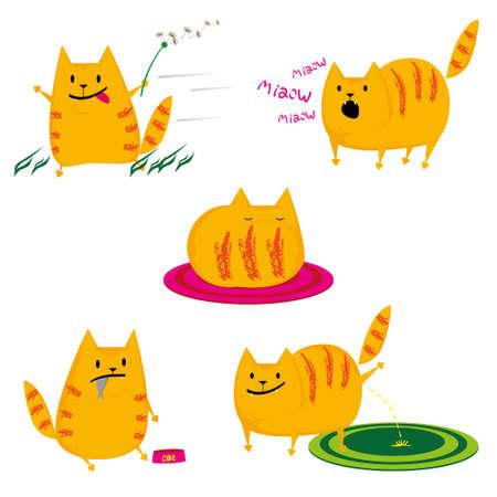 conjunto de lindos gatos rojos sobre fondo blanco Ilustración de vector