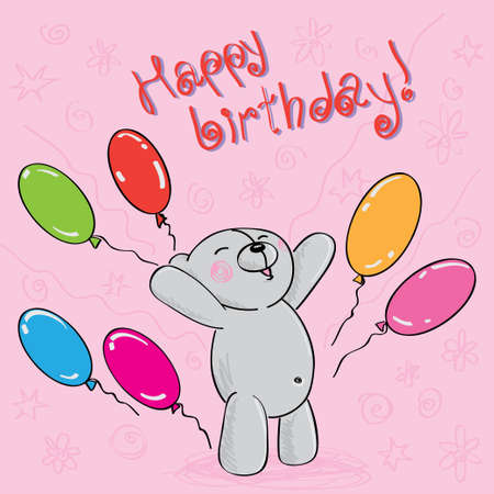 greeting card with teddy bear and balloons