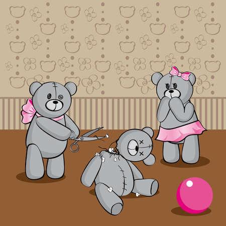 cartoon illustration with three gray teddy bears