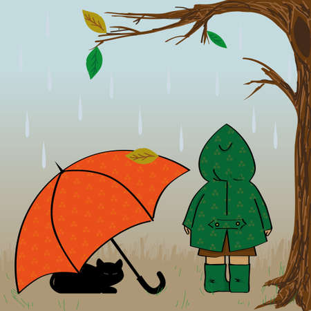autumn illustration with girl, cat and umbrella