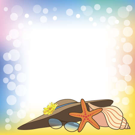 summer illustration with a sea shell of a mollusk, a star, a hat and spectacles