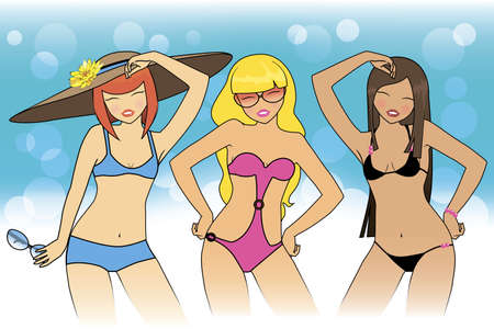 girls in bathing suits Illustration