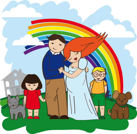 happy family rich house Illustration