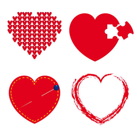 Set of red hearts Stock Vector - 15789164