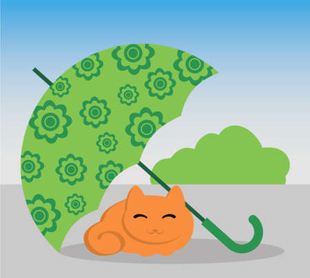 cat and umbrella Illustration