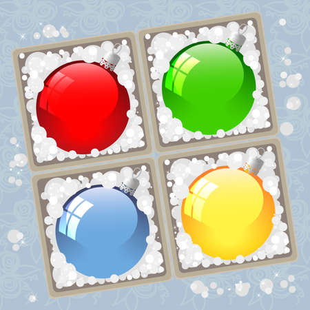 illustration set of colored glass Christmas balls in a box on a blue tablecloth Illustration