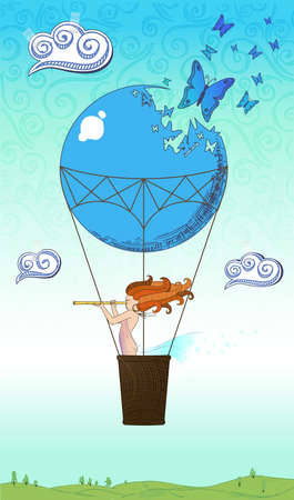 Drawing of the traveler by a balloon over the world Stock Vector - 15993327