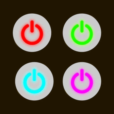 set of round metal buttons with the light-emitting diode center Illustration