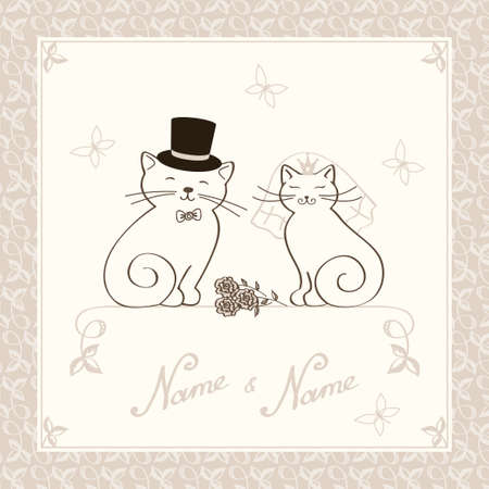 template for the invitation to wedding with kittens in golden color