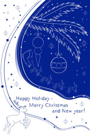 Card Happy Holiday - Merry Christmas and New year