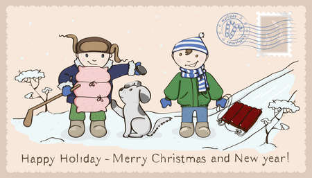 sledge dog: winter card for Christmas with children